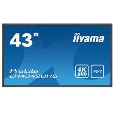 "IIYAMA LFD 42.5"" dalle IPS LED 18/7 3840x2160 VGA DVI HDMIx2 500cd/m² Paysage/port  9ms MediaPlayer LH4342UHS-B1"