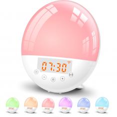 Réveil lumineux WE 2W radio FM, lampe de chevet, simul de lever/coucher de soleil compatible google home/Alexa