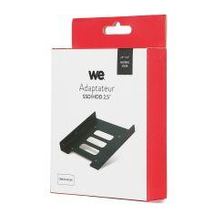 Adaptateur WE pour 1 disque dur ssd / hdd 2.5' en baie 3.5' + 1 câble S-ata + 1 câble alimen en metal - noir