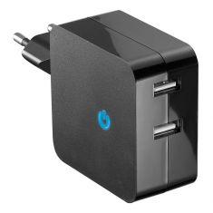 Chargeur secteur universel noir 2 ports USB 2.4A indicateur LED