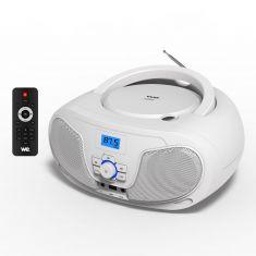 WELecteur CD Portable | Radio FM écran LCD | Lecteur USB pour Lire Musique MP3 | Lecteur CD avec Sortie Casque et Haut-Parleurs Intégrés 2*2W - Blanc