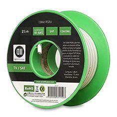 Bobine de câble Coaxial 25 m Blanc diamètre 6mm