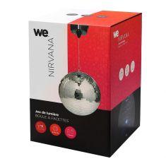 Nirvana Boule à facettes 8'' Diamètre 20cm-18 LEDs sur le moteur Alimenté par piles ou par secteur Rotation 360° - W.E.