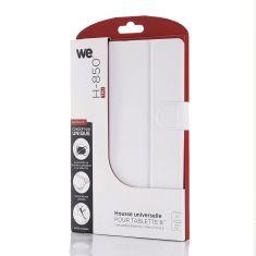 H-850 TPU Blanc Housse universelle pour tablettes 8'' Toucher doux Attaches en silicone ajustables Languette magnétique