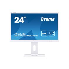 Moniteur IIYAMA 24'' LED 16:9 1ms 1920x1080 VGA HDMI DisplayPort HPs 13cm pied régl en haut, Pivot HDMI inclus BLANC / B2483HSU-W5