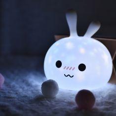 Veilleuse/projecteur d'étoile lapin en silicone - rechargeable lumiosité reglable blanc