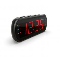 Radio réveil grand affichage FM , Dual alarme, Led Rouge, 1 port USB intégré pour la charge Noir