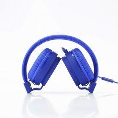 Casque filaire bleu avec micro câble 1.20m arceau réglable