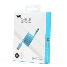 Câble Apple USB/lightning plat: évite de faire des noeuds 1m bleu - en silicone