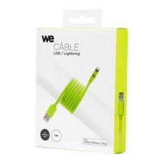 Câble Apple USB/lightning plat: évite de faire des noeuds 1m vert - en silicone