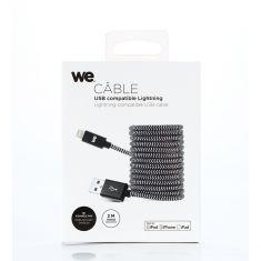 Câble USB-C/Lightning nylon tressé 2m - noir & blanc Charge rapide Connecteurs en métal