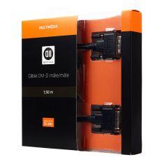 Câble DVI/DVI mâle/mâle 1.50m signal Dual link (meilleure réso) noir - DVI-D 24+1