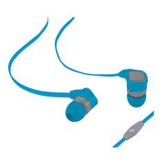 Ecouteurs avec micro 1.20m - plat Bi-couleur bleu/gris - jack 3.5mm diamètre driver 8mm impédance 32Ohms sensibilité 98dB
