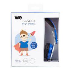 Casque enfant bleu (3 à 10 ans) pliable/réglable/ergonomique limitation volume à 85dB câble 1.20m/Jack 3.5mm