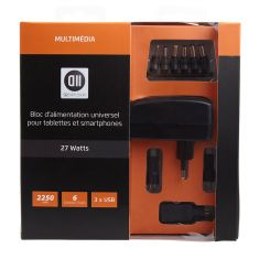 Bloc d'alimentation UNIV 2250mAh pr tablettes et smartphones 6 fiches de 3 à 12V + 3 ports USB avec indicateur de charge - noir