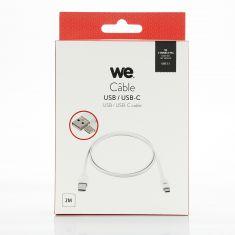 Câble USB-C mâle/USB A mâle plat 2 m - USB 3.1 gen 1 - blanc ne s'emmêle pas
