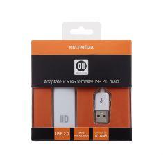 Adapateur USB2.0 mâle/RJ45 femelle blanc - compatible 10/100Mbps Plug&Play