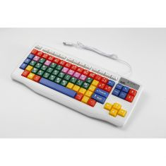 Clavier enfant WE AZERTY touches grandes zones de travail colorées blanc