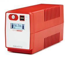 SALICRU Onduleur SPS 850 SOHO + Line-interactive 850VA 2USB 2prises Shuko/FR Protection surcharge avec charge APFC 647CA000003