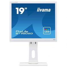 Moniteur IIYAMA 19'' LED 16:9 5ms 1280x1024 VGA DVI hautparleurs 13cm pied régl en haut Pivot Blanc cable DVI inclus B1980SD-W1