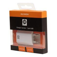 Chargeur secteur 1 USB 1A blanc design plat
