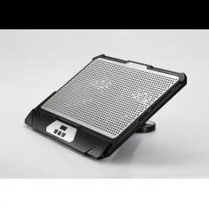 """Support Ventilé pr PC jusqu'à 17.3"""" 2 ports USB, Ecran intégré 2 ventilateurs de 120mm surface en alu, pied rotatif"""
