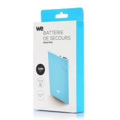 Batterie de secours 3200mAh bleu 1 port USB 1A - bouton tactile Toucher peau de pêche ULTRA FIN 5mm d'épaisseur
