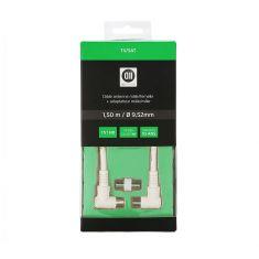 Câble Coaxial mâle/femelle Fiches coudé à 90° des 2 côtés 1.50 m Blanc 9.52 mm