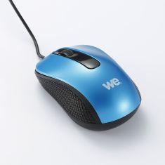 Souris filaire WE 1200DPI  - USB - longeur câble 1.5m finition métalliq bleue