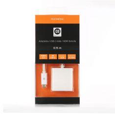 Adaptateur USB-C male/HDMI femelle HDMI 2.0 4K/60Hz 18Gbit/s 0.15m - blanc compatible HDR