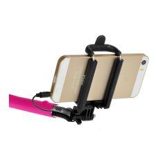 Bras Selfie fushia longueur: 22.5 à 100.5cm compatible IOS 4.0 / Android 3.0 Connexion port Jack / bouton phot