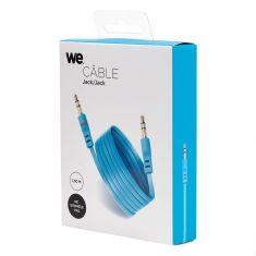 Câble Jack/Jack M/M plat 1.50m - bleu 3.5mm