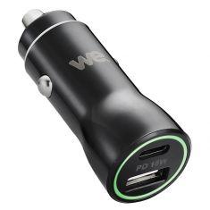 Chargeur allume-cigare WE - 2 ports USB (1 USB-A 5V/2,4A et 1 USB-C V/3A), Total (USB-A+C) 5V/3A pour smartphone, GPS, etc...