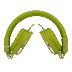 Casque filaire vert avec micro câble 1.50m arceau réglable effect peau de pêche