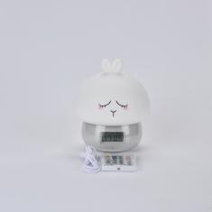 Réveil enfant en forme de lapin affichage horaire, température tête en silicone, rechargeable avec télécommande