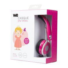Casque enfant rose (3 à 10 ans) pliable/réglable/ergonomique limitation volume à 85dB câble 1.20m/Jack 3.5mm