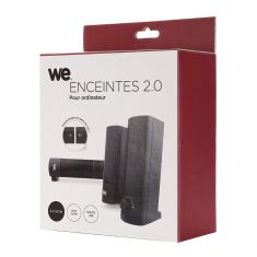 Enceinte PC WE 2.0  2 x 2.5W Transformation barre de son Port USB - Jack stéréo 3.5 mm Interrupteur on/off - LED