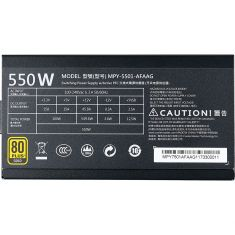 ALIM COOLERMASTER 80+ Gold MWE Gold 550 FM - Puissance 550W Gaming - Ventilateur LDB 120mm MPY-5501-AFAAG-E1