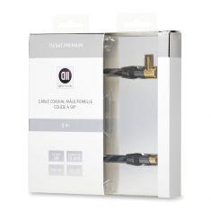 Câble coaxial Mâle/Femelle coudé à 90° 2 m 85dB Fiches or - double blindage