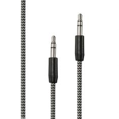 Câble Jack/Jack Nylon 1.50m tressé noir et blanc très résistant