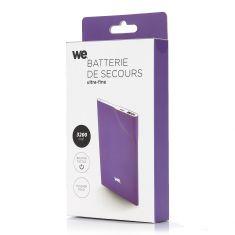Batterie de secours 3200mAh violet 1 port USB 1A - bouton tactile Toucher peau de pêche ULTRA FIN 5mm d'épaisseur